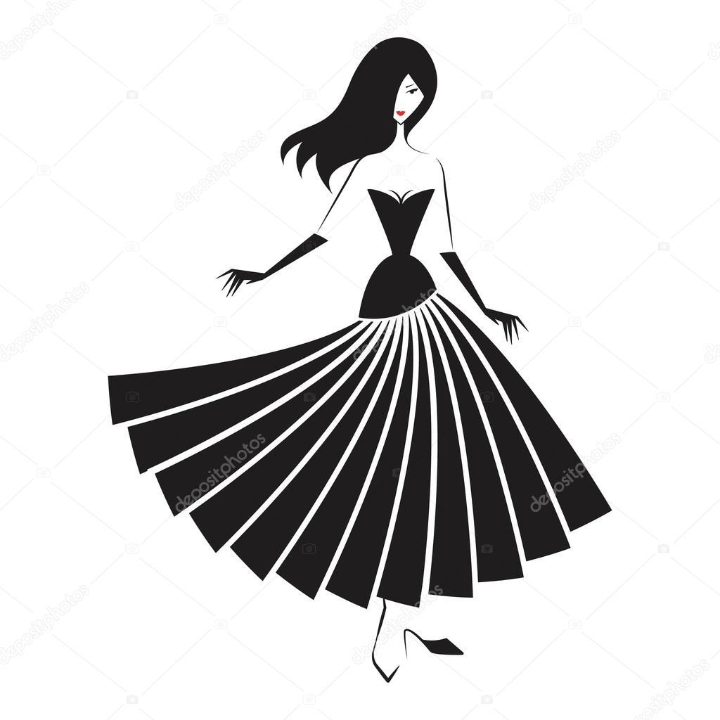 Frau In Der Kugel Kleid Silhouette