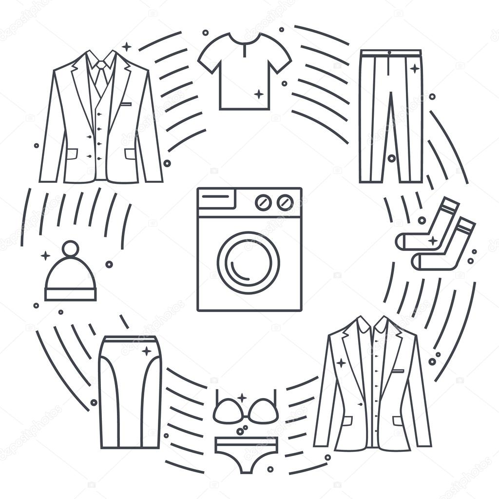 Dry Cleaning And Laundry Vector Objects Unique Vector