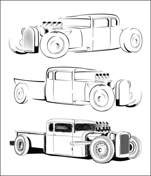 hot rod auto vector schets set — Stockvector © swsctn80