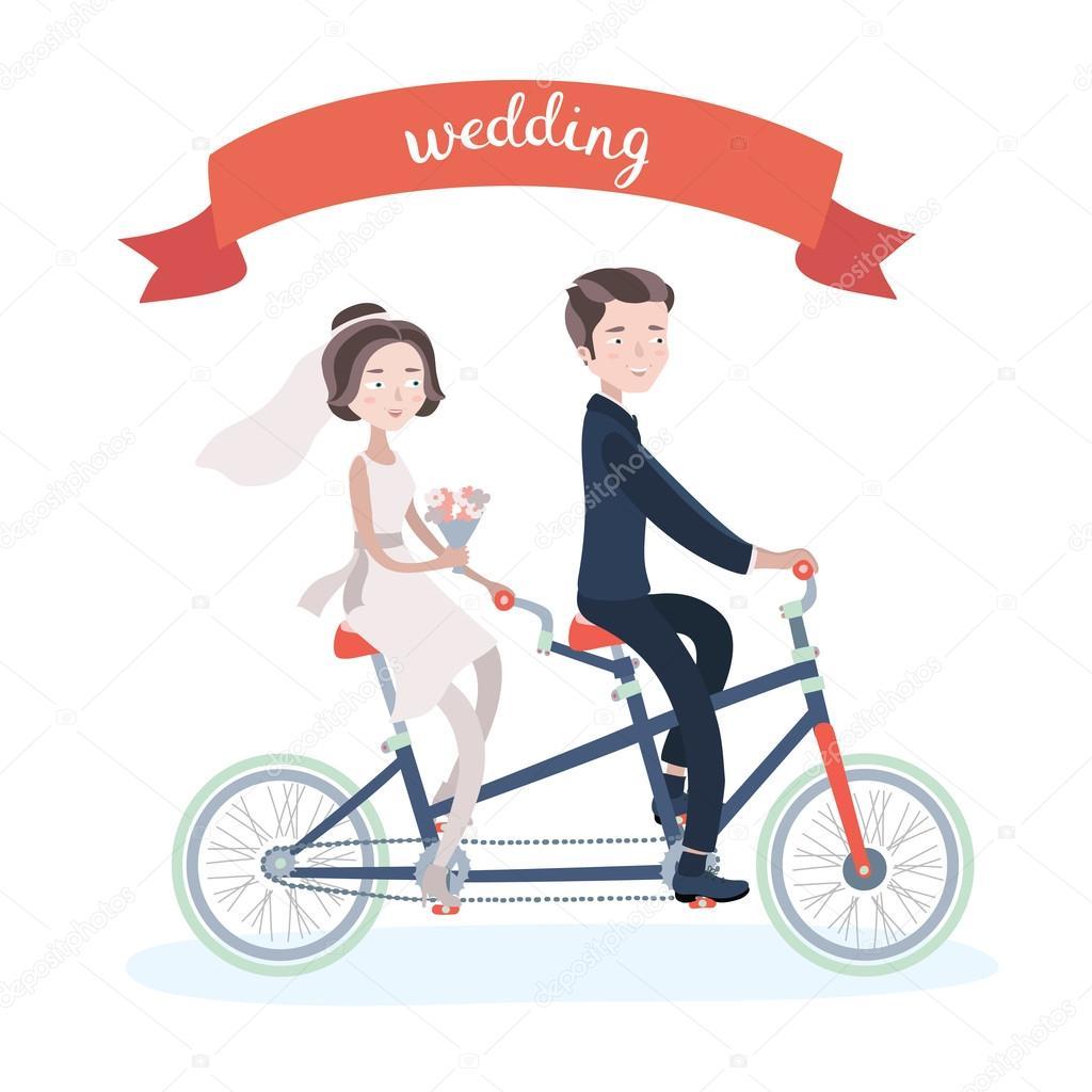 Hochzeitspaar auf TandemFahrrad fahren  Stockvektor