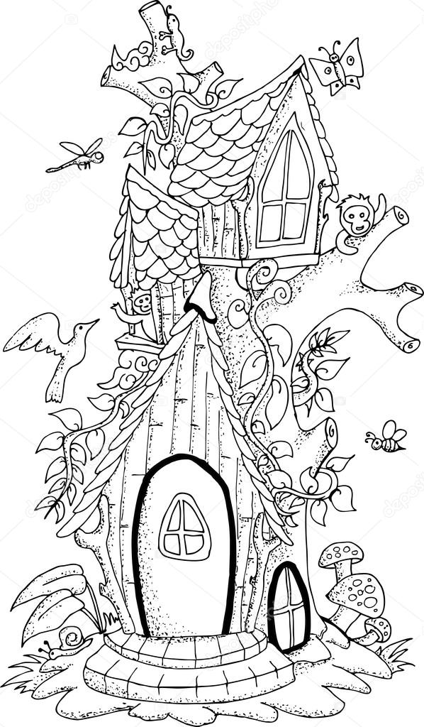 Black and white illustration of a fairy house for adult