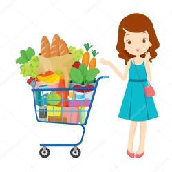 shopping cart illustration eating vector cartoon food lady am she goods