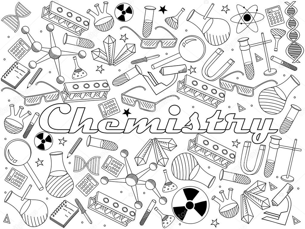Chemistry Coloring Book Vector Illustration