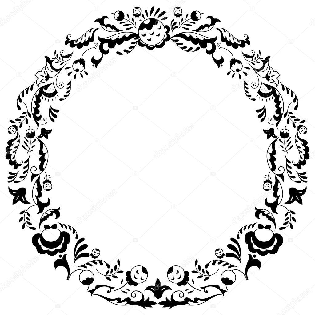 Ronde Zwart Wit Grenskader Met Doodle Bloemen