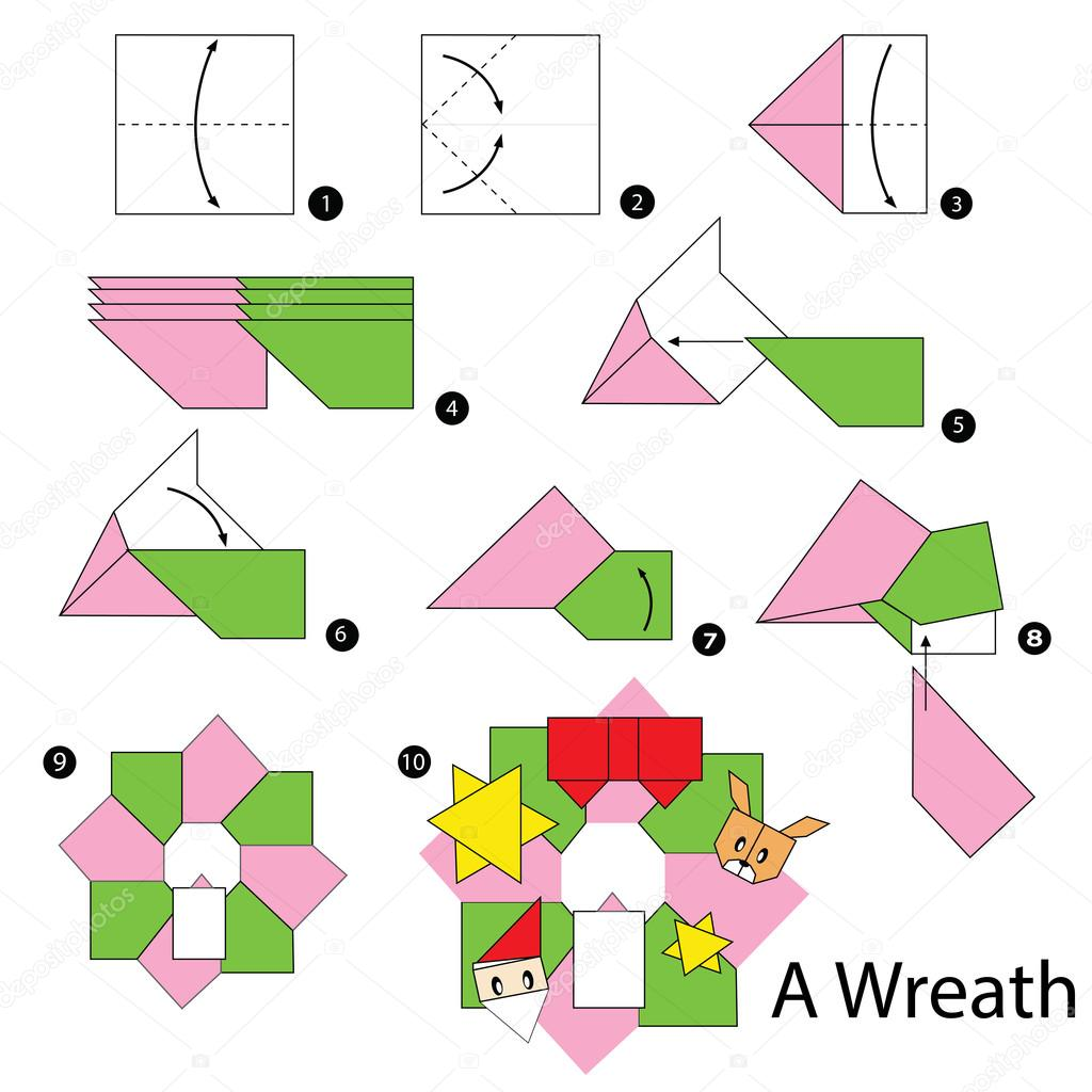 christmas origami diagram toyota soarer 1jz wiring step by instructions how to make wreath toy cartoon cute paper steps vector pokky334 hotmail com