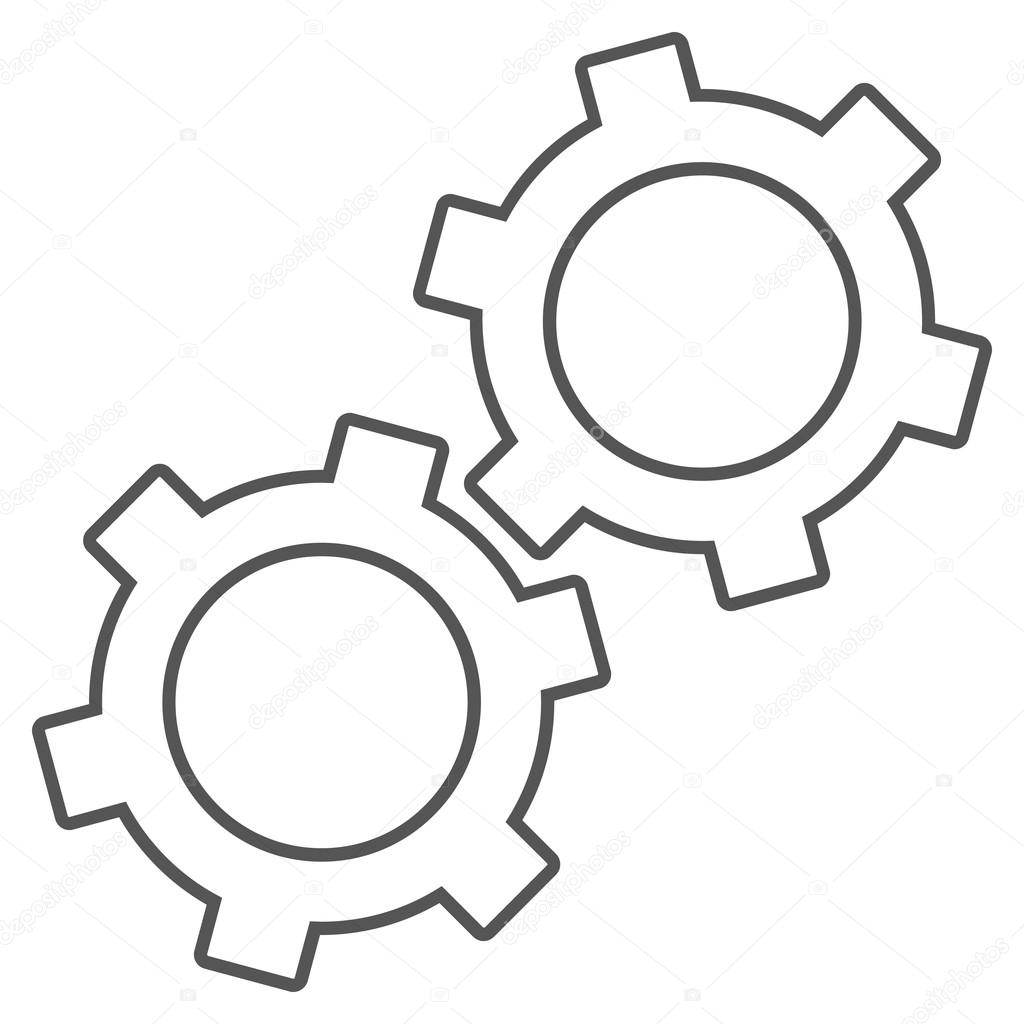 Gears Outline Vector Icon