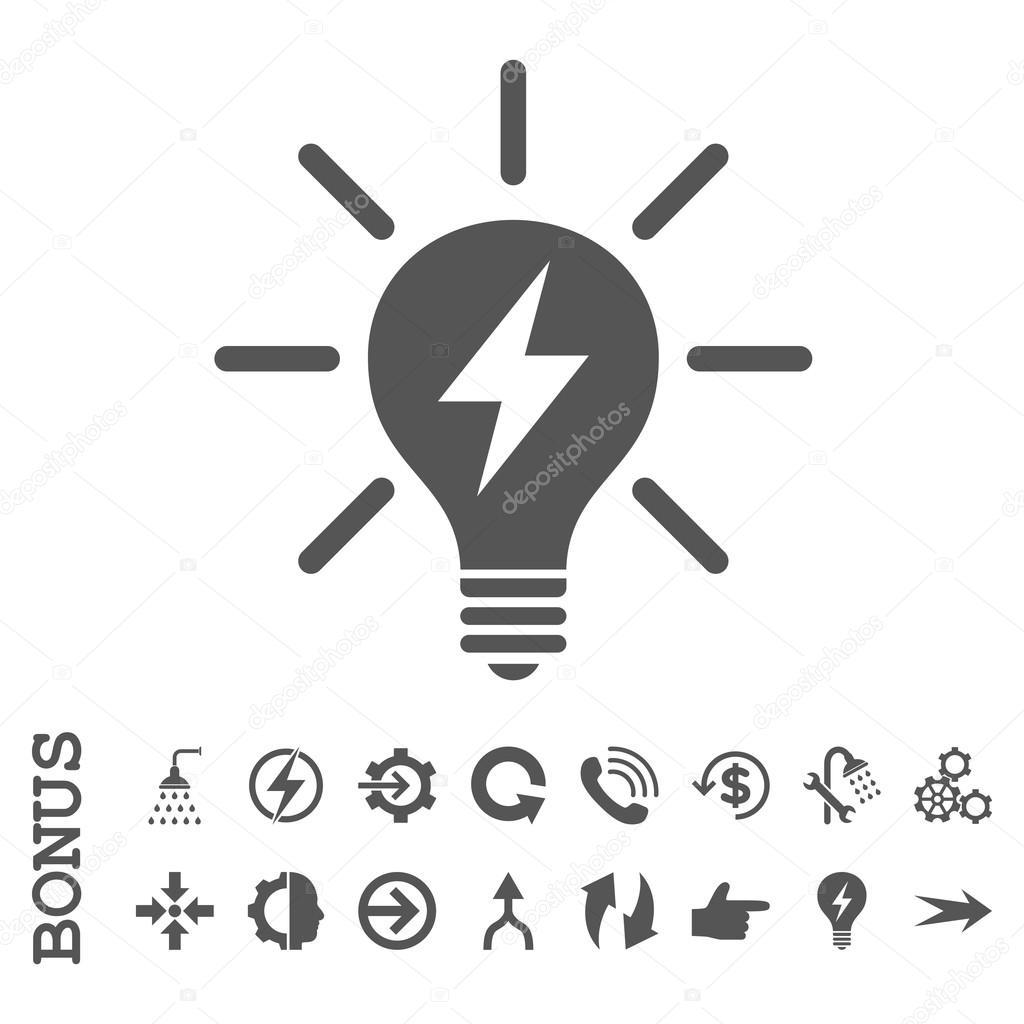 Elektrisches Licht Birne Flach Glyphe Symbol Mit Bonus
