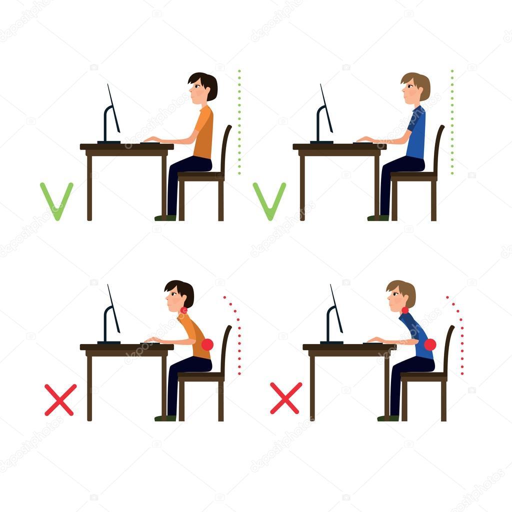 Correct And Incorrect Back Sitting