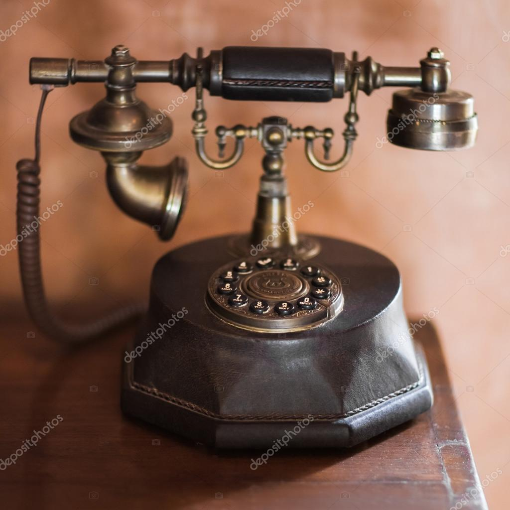 hight resolution of old vintage antique phone stock photo