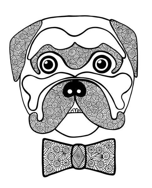Zły pies znak kreskówki kolorowanki — Grafika wektorowa