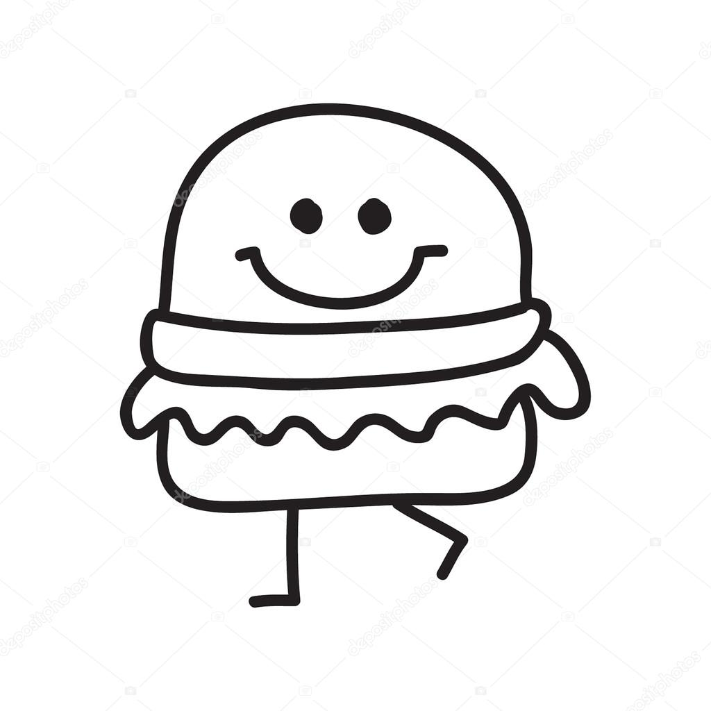 Funny Burger Doodle Style Vector Illustration Black And