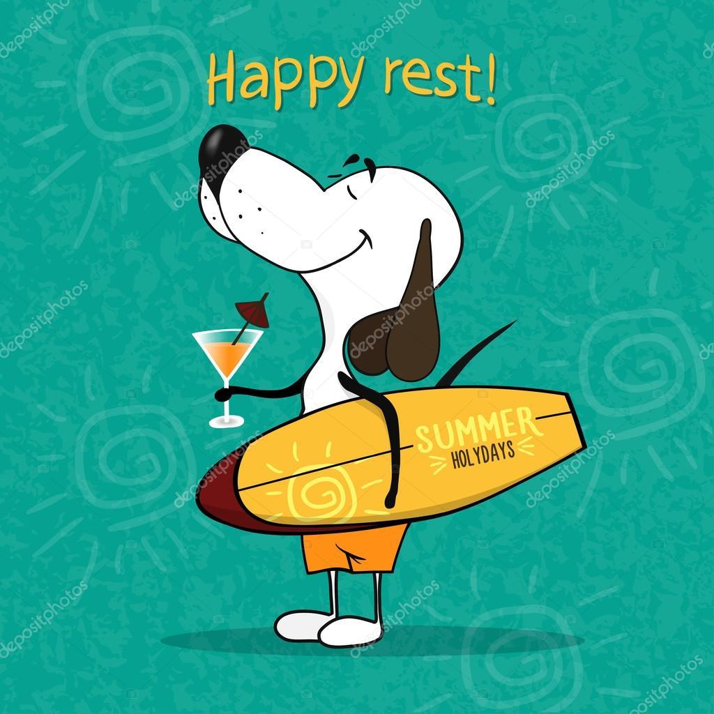 Perro De Dibujos Animados Feliz Con Una Tabla De Surf Y Un