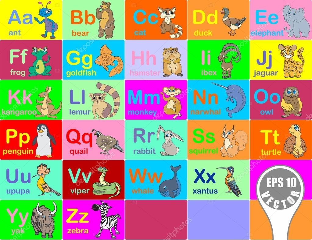 從 A 到 Z 的字母動物矢量圖 — 圖庫矢量圖像© SergeyVoevodin #100089132