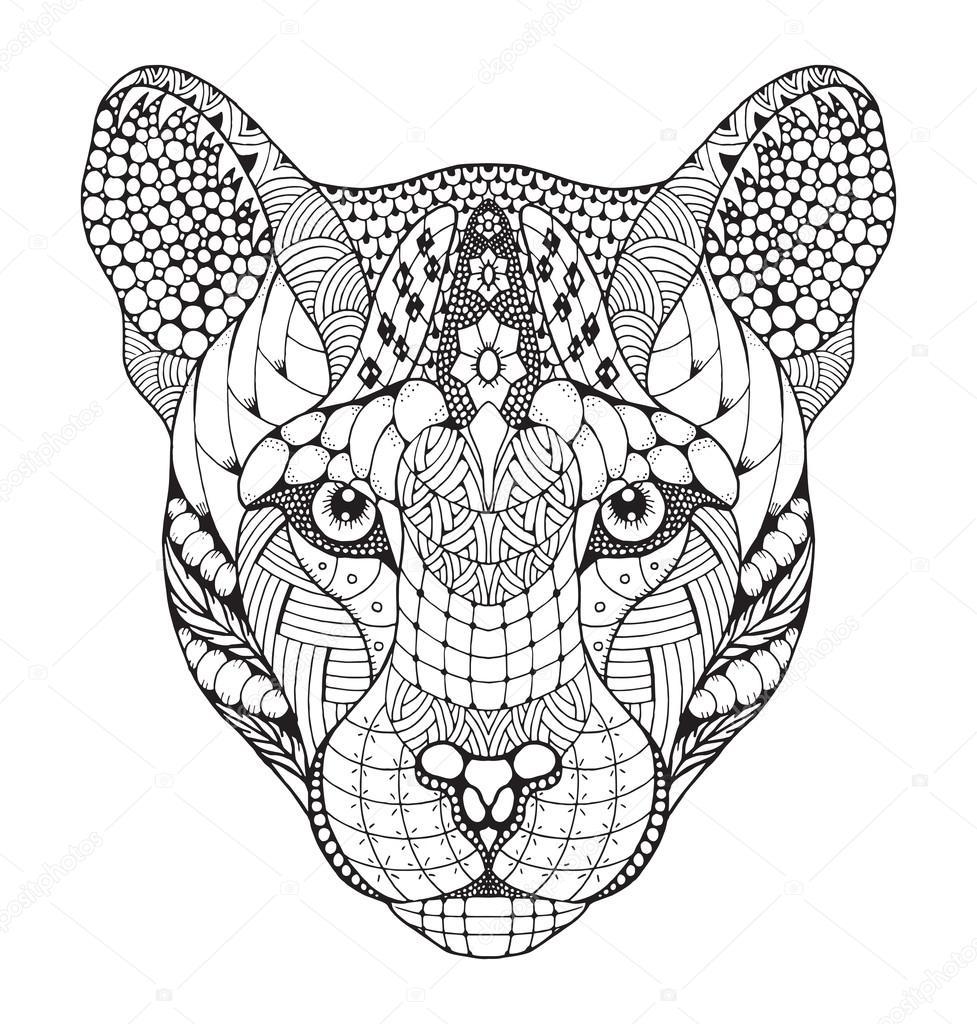 Cougar, mountain lion, puma, panther head zentangle