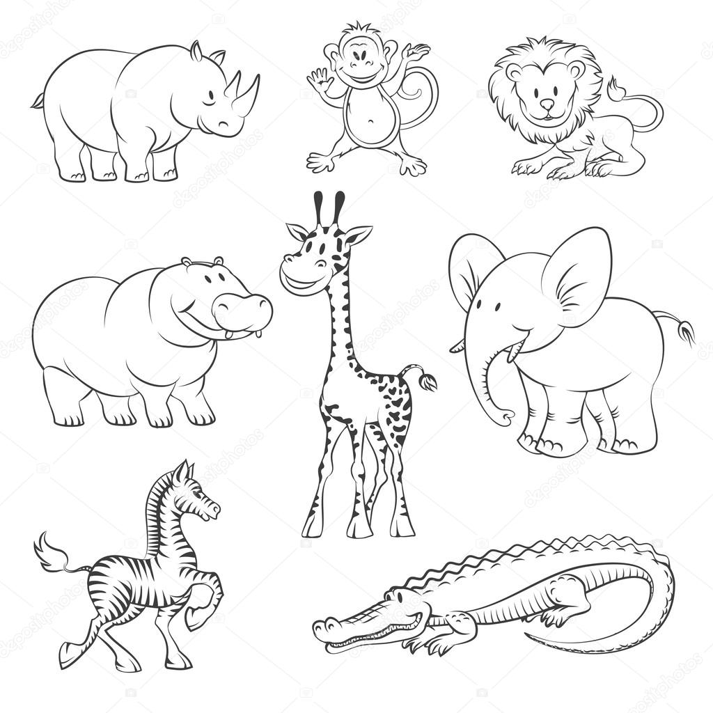 Safari And Jungle Vector Animals