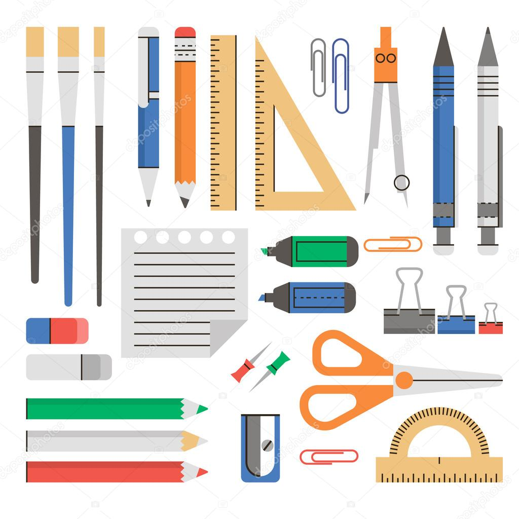 School Supplies Flat Modern Design School Supplies