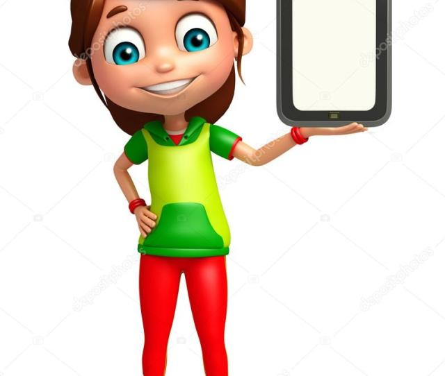 Kid Girl With Tab Stock Photo