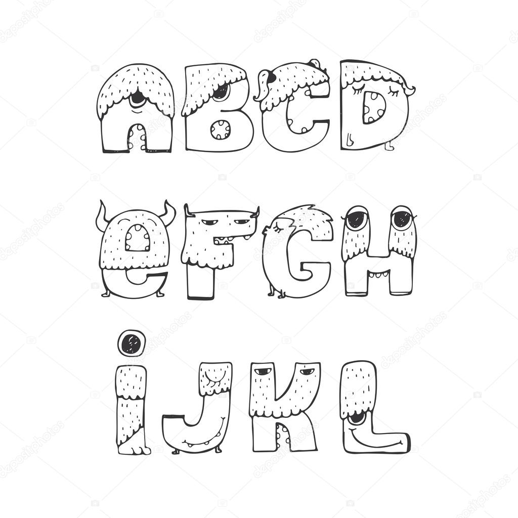 Vector set of fun funky monster font A to L, hand drawn