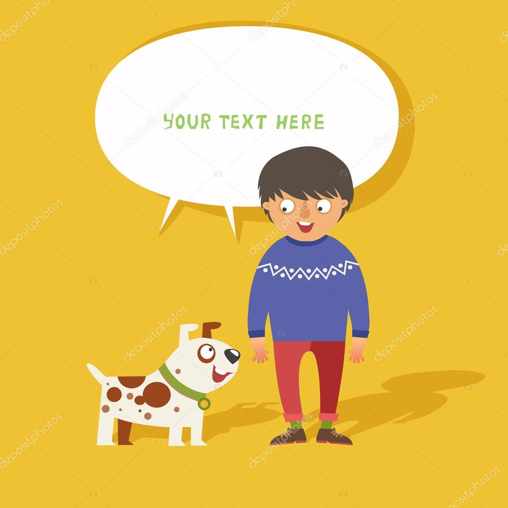 hight resolution of boy walking his cute dog ilustraci n de stock