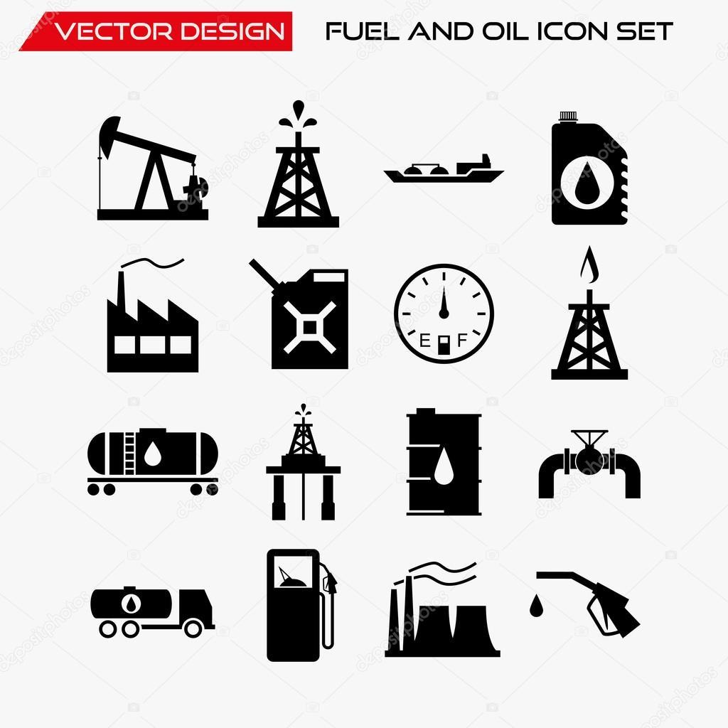 Carburant Et Huile Jeu D Icones Symboles De Vecteur