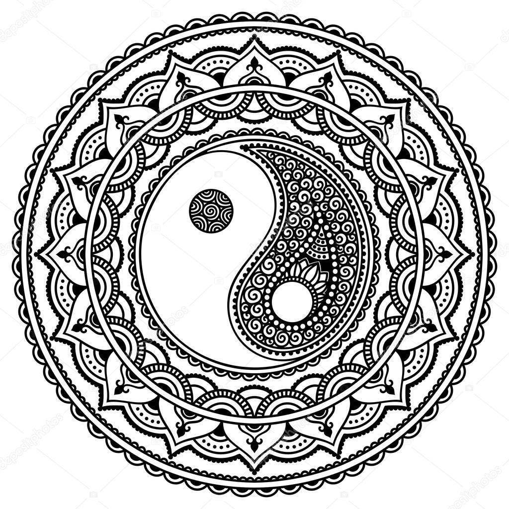 Vector Henna Tattoo Mandala Yin Yang Decoratieve Symbool
