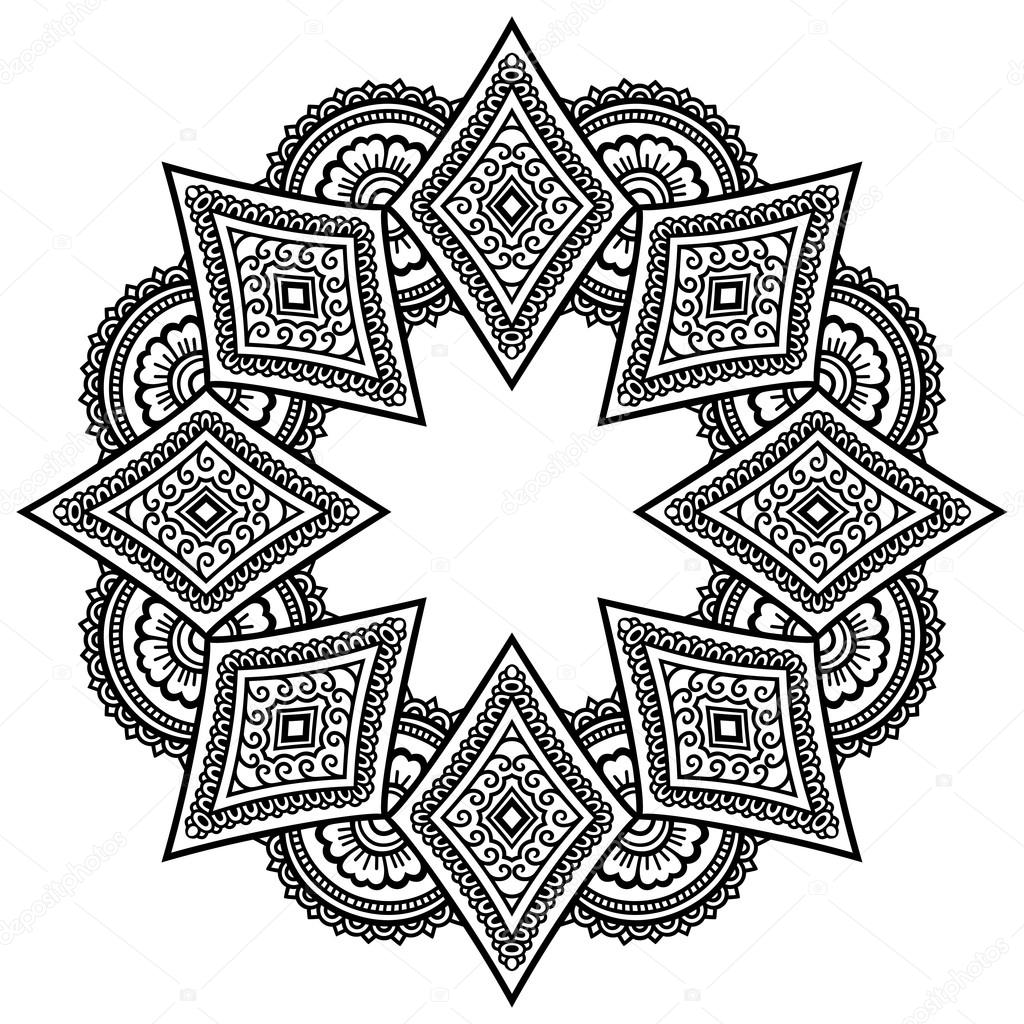 Tatua Henn Mandali W Stylu Mehndi Wzor Dla Kolorowanka