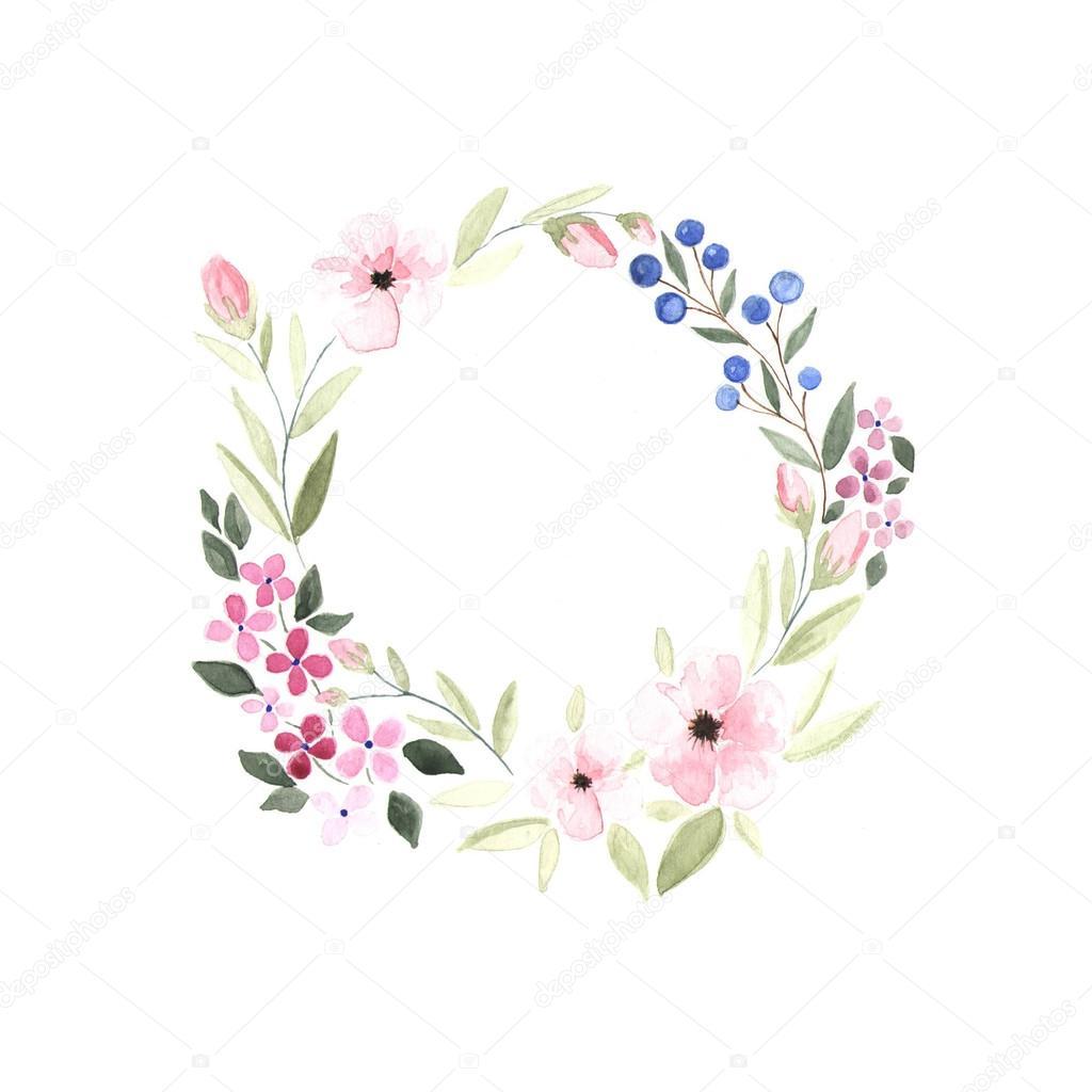 Blumen Kranz mit Wasserfarben gemalt  Stockfoto