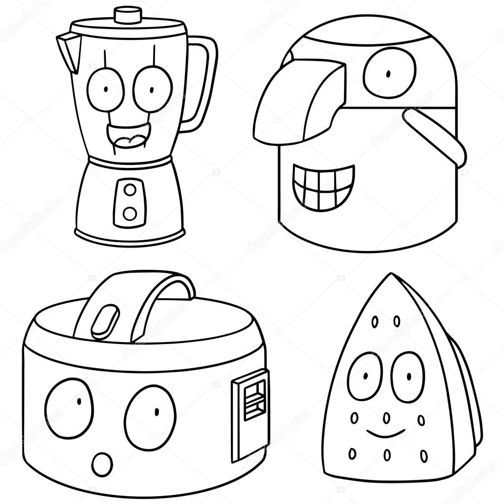Vector Set Of Electrical Appliance Cartoon