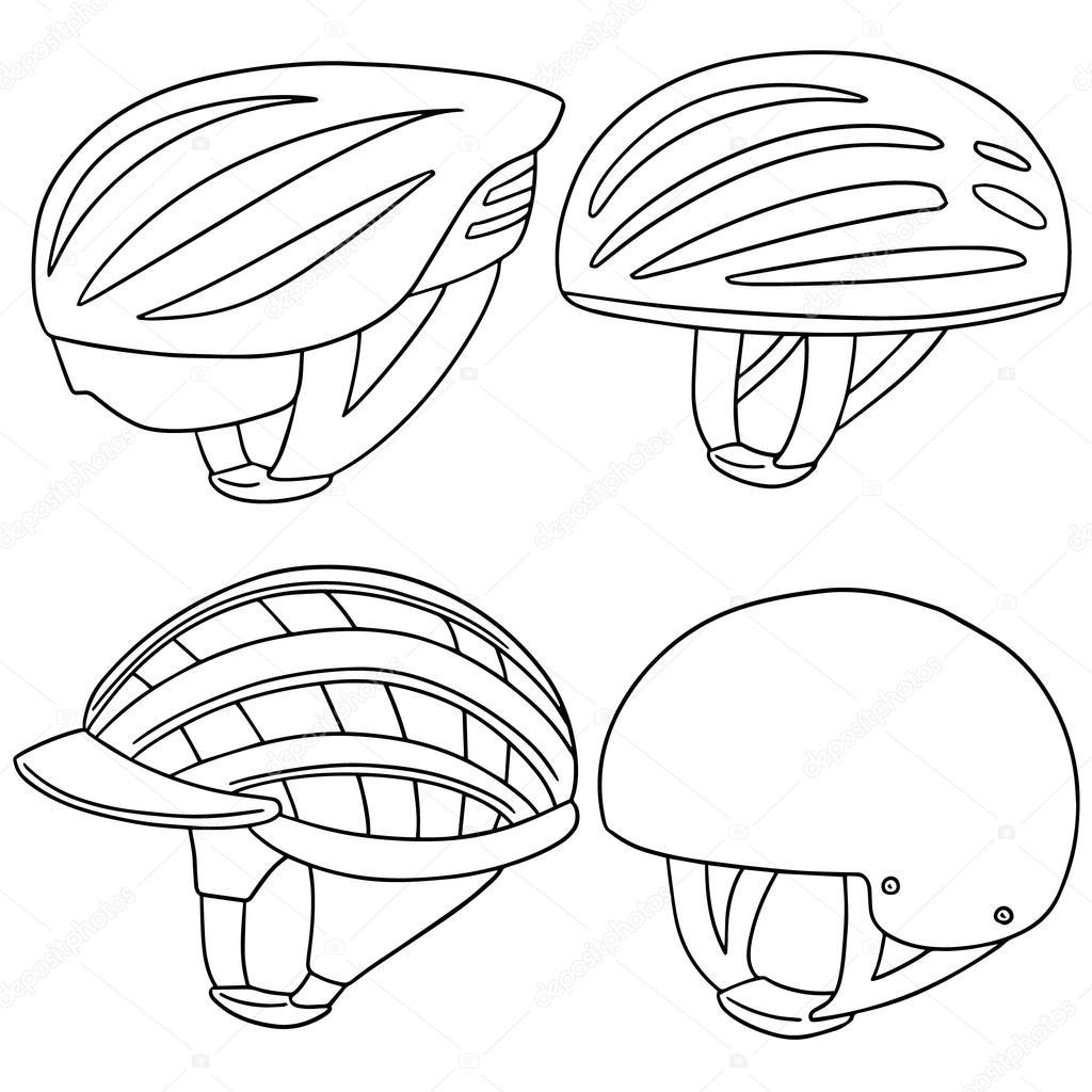 vector set of bicycle helmet — Stock Vector