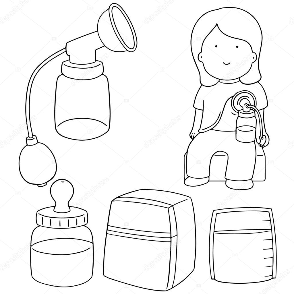 Vector set of manual breast pump — Stock Vector