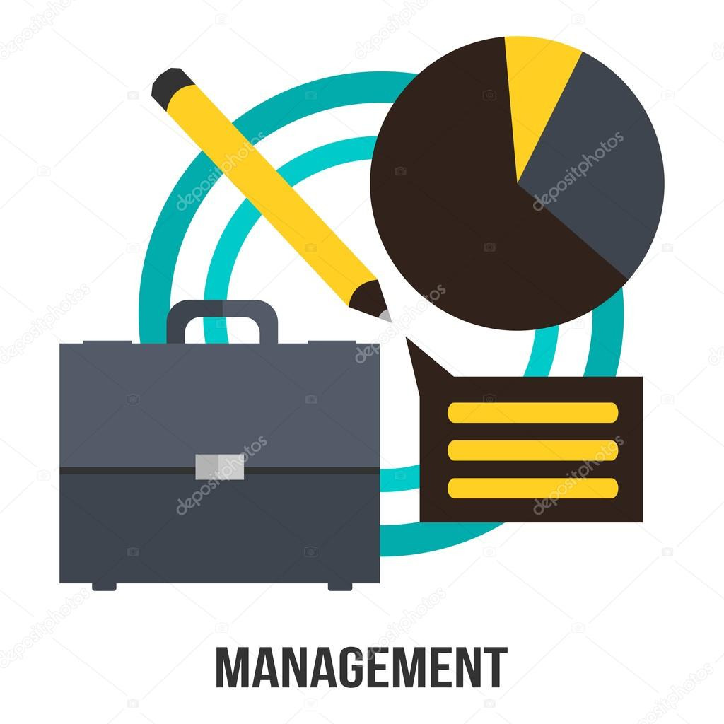 hight resolution of management business concept vector design suitcase diagram and pencil presentation stock vector