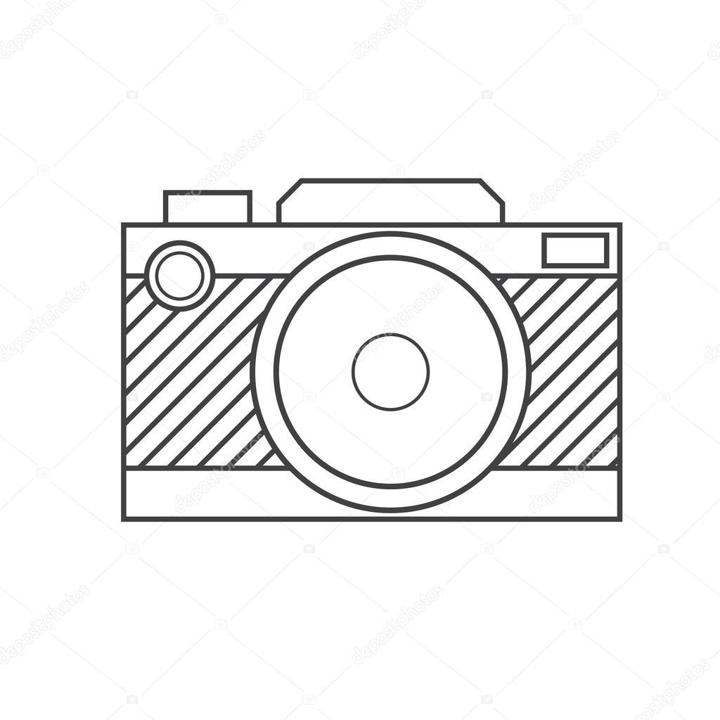 Retro Camera Outline Icon