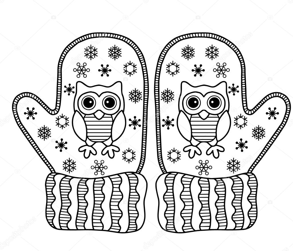 I love Winter. Funny vector mittens. Greeting card — Stock