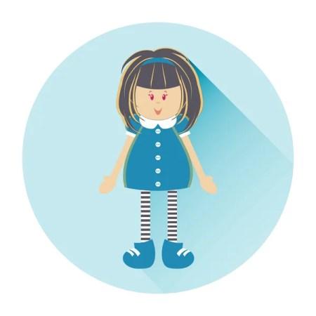ragazza felice con capelli scuri lunghi nel classico colore girly vestiti personaggio dei