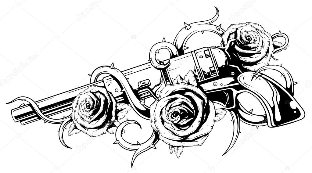 Tattoos Guns And Roses Coloring Page Sketch Coloring Page