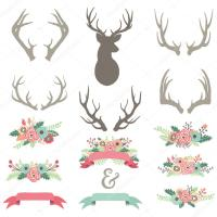 Wedding Flower Antlers Set  Stock Vector  jason_lsy