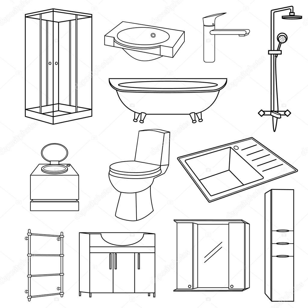 Bathroom Icon Set Outline Vector
