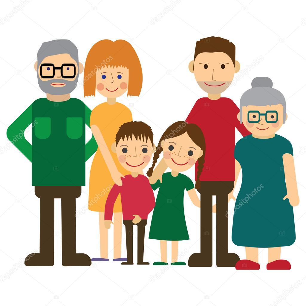 Retrato De Familia Feliz Pai Mae Filho E Filha Avos No