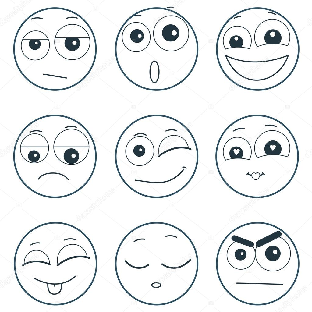 Set Of Smiley Faces Expressing Different Feelings