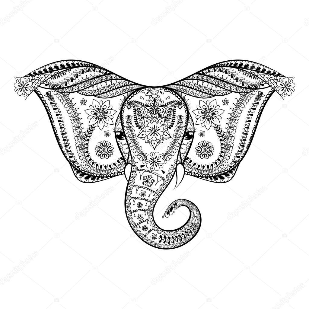 Zentangle Stylized Indian Elephant Head Hand Drawn