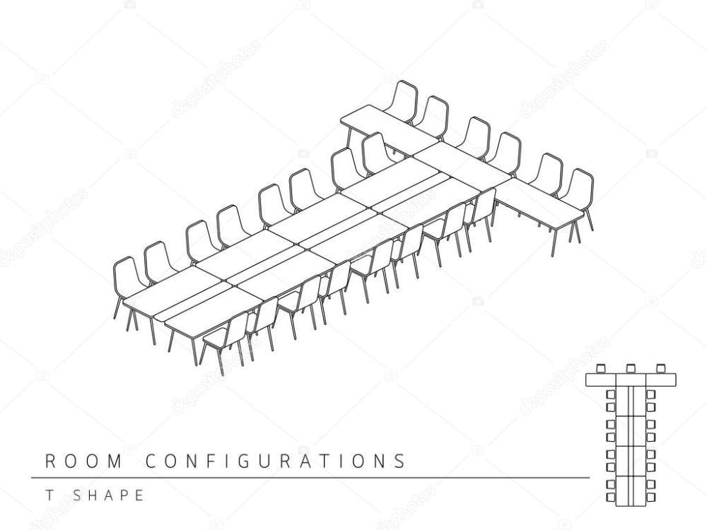 medium resolution of meeting room setup layout configuration t shape style stock vector