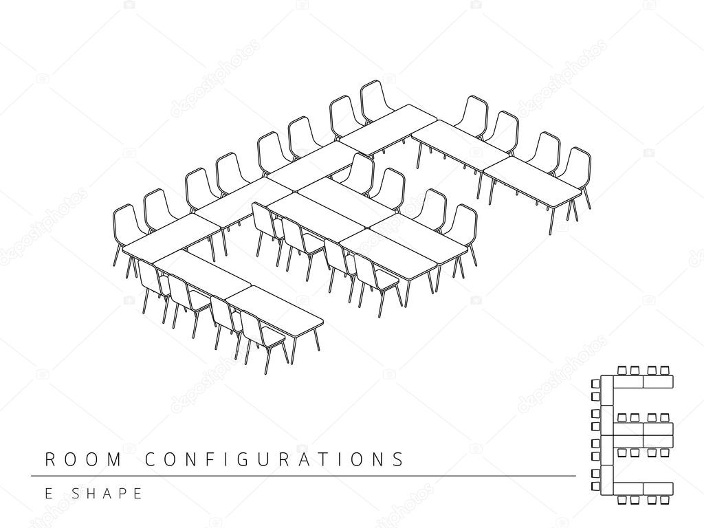 hight resolution of meeting room setup layout configuration e shape style stock vector