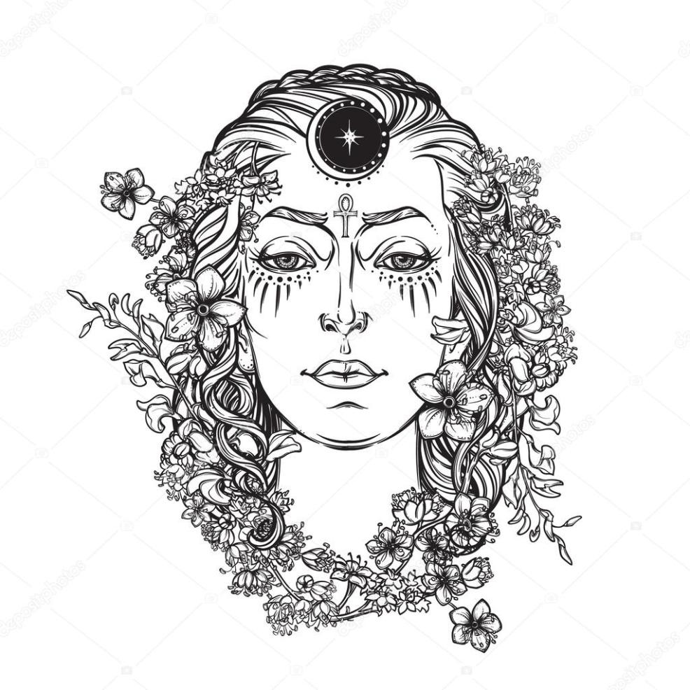 эскиз тату богиня правосудия белой богини Bw эскиз векторное