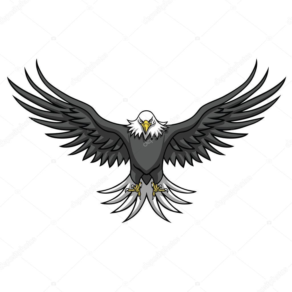Maskotka Orzeł rozłożone skrzydła — Grafika wektorowa