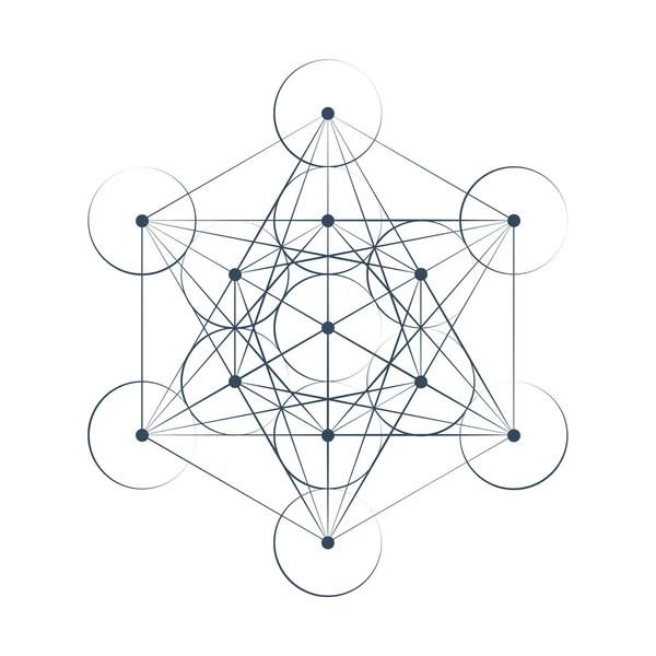 Metatrons Cube Sacred Geometry Illustration Stock Vector