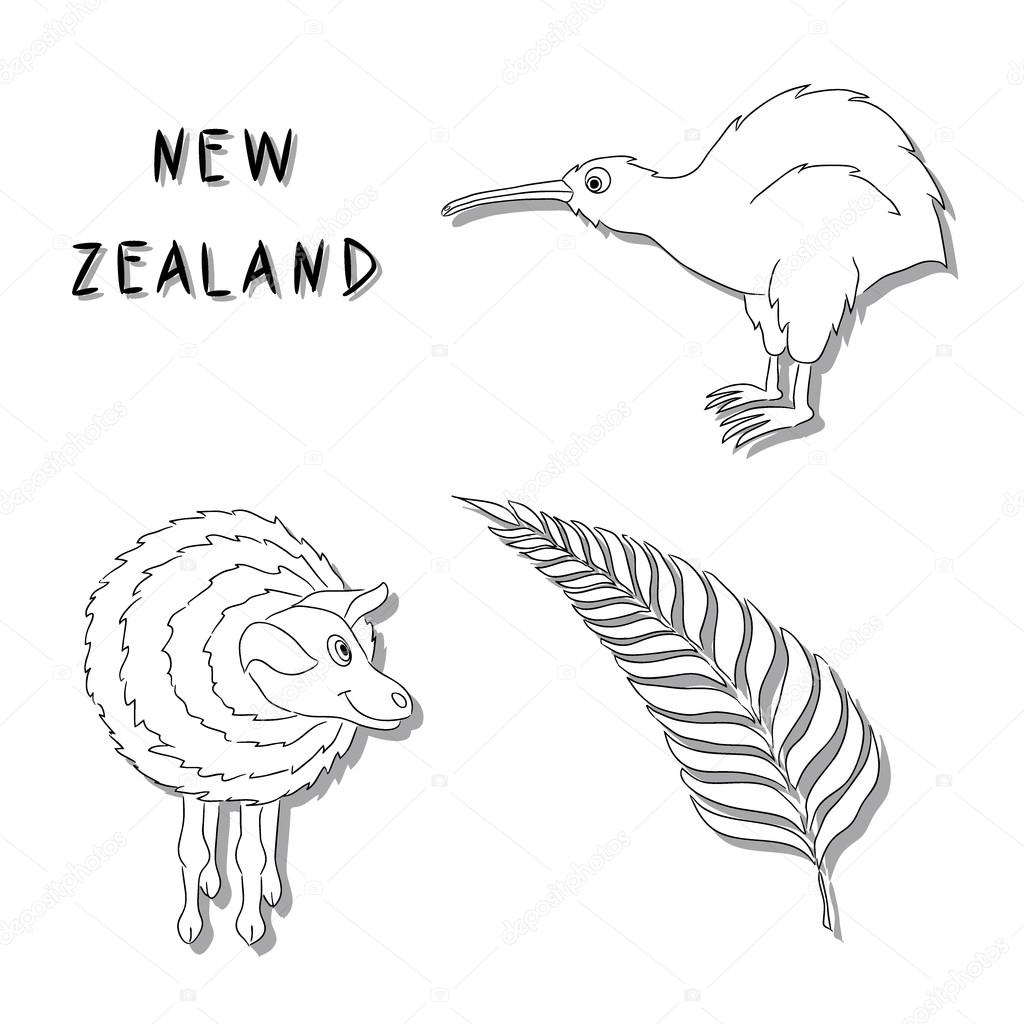 New Zealand symbols. A set of black line cartoon icons