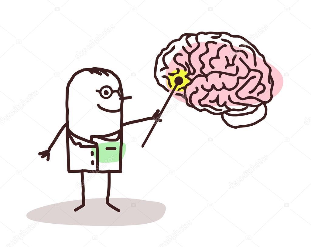 Neurologo De Dibujos Animados Con Cerebro