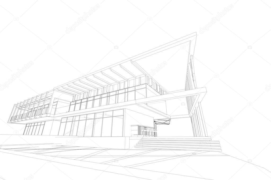 structure du bâtiment commercial moderne, Résumé dessin d