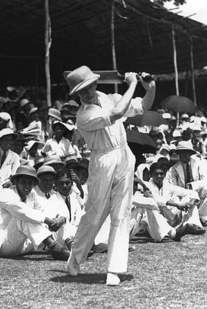 Lindsay Hassett practising at Colombo in 1938 Getty Images
