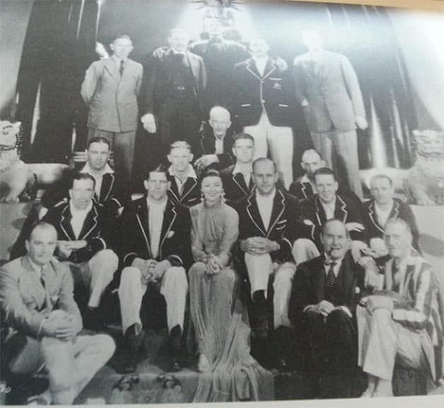 The Australian Cricketers with the Hollywood stars – Aubrey Smith at the extreme right in the first row – photo courtesy Ric Sissons